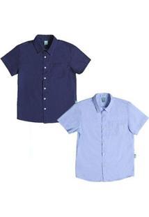 Kit Camisas Infantil Jokenpô 2 Peças Masculina - Masculino-Azul