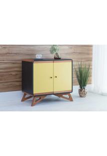 Armário Pequeno Com 2 Portas Presley Preto E Amarelo - 72X40X68,5 Cm
