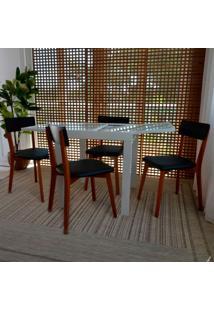 Conjunto De Mesa De Jantar Extensível Pólito Com 4 Cadeiras Tóquio Corino Branco E Preto