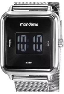 Relógio Mondaine Quadrado Digital - Unissex-Prata