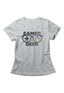Camiseta Feminina Gamer Geek Cinza
