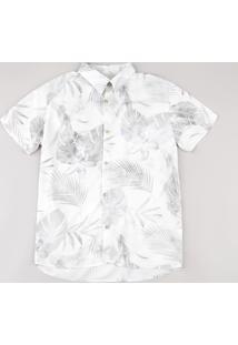 Camisa Juvenil Estampada De Folhagens Manga Curta Bege Claro