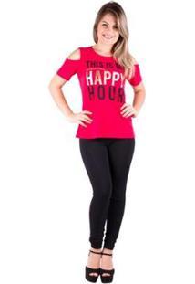 Camiseta Banna Hanna Salto Triplo Ombro Vazado Feminina - Feminino-Vermelho