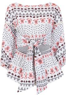 Pop Up Store Kimono Estampado - Branco