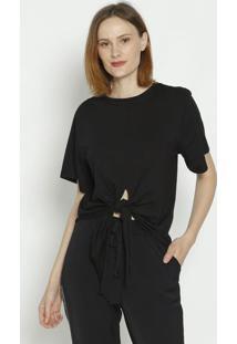 Camiseta Com Amarraã§Ã£O - Preta - Colccicolcci