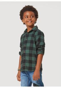 Camisa Hering Kids Infantil Flanela Xadrez São João Verde