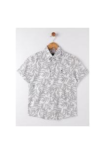 Camisa Manga Curta Juvenil Para Menino - Off White