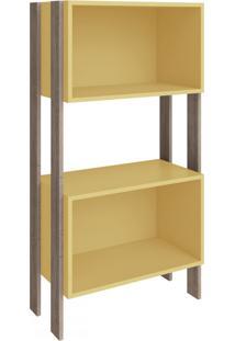 Estante Para Livros 2 Nichos 3092 Rústico/Amarelo - Móvel Bento