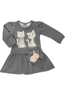 Vestido Para Bebê Manga Longa Em Moletinho Mescla Bordado Gatinhos - Anjos Baby Mescla Cinza