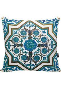 Capa Para Almofada Turkish- Azul & Branca- 45X45Cm