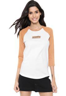 Camiseta Hurley Raglan Enjoy Branca/Caramelo