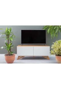 Rack De Tv De Madeira Maciça 2 Portas Freddie Verniz Nózes E Branco 120X43,6X48,5 Cm