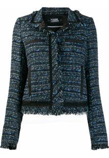Karl Lagerfeld Jaqueta Cropped De Tweed - Azul