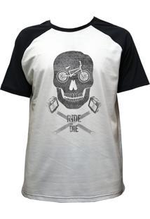 Camiseta Alkary Raglan Manga Curta Bmx Caveira Branca E Preta