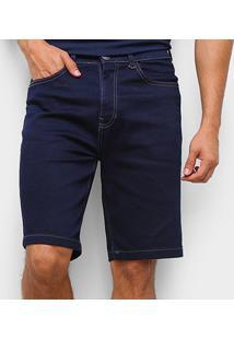 Bermuda Jeans Hering Tradicional Masculina - Masculino-Preto+Branco