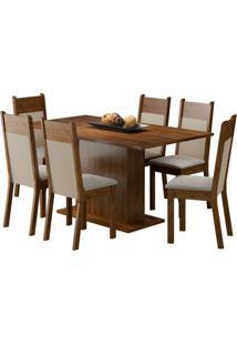 Conjunto De Mesa Com 6 Cadeiras Louisiana Suede Rustic E Pérola