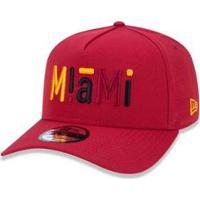 12d07e19a Boné 940 Miami Heat Nba Aba Curva Snapback New Era - Masculino-Vermelho  Escuro