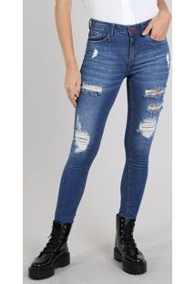 Calça Jeans Feminina Skinny Destroyed Azul Médio