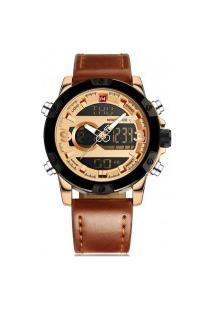 Relógio Naviforce Analógico E Digital Led Nf9097 - Dourado