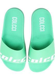 Chinelo Slide Colcci Bianca Colors Feminino - Feminino-Verde Claro