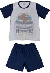 56e3e802adec3f Pijama Curto Infantil Para Menino - Azul