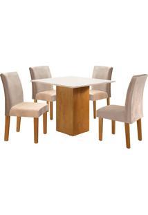 Conjunto De Mesa De Jantar Dakota Com 4 Cadeiras Classic L Suede Off White E Bege