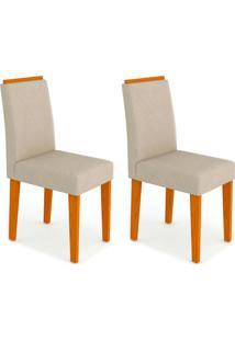 Conjunto Com 2 Cadeiras Amanda I Ipê E Creme