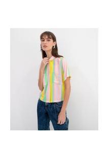 Camisa Cropped Com Bolsos Frontais Estampa Listras | Blue Steel | Multicores | Gg