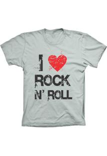 Camiseta Baby Look Lu Geek I Love Rock Prata