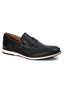 Sapato Social Masculino Loafer Em Couro Preto