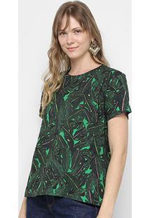 Camiseta Colcci Estampada Feminina - Feminino-Preto+Verde