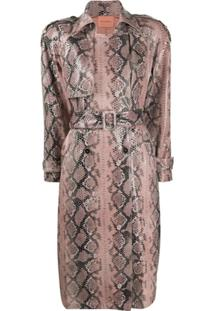 Andamane Snake-Effect Belted Trench Coat - Rosa