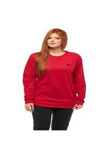 Camiseta Longline Feminina Oversized Manga Comprida Wooks C2-Vermelho