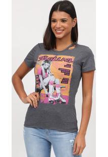 "Camiseta ""Skating"" Com Vazados- Cinza & Pink- Coca-Ccoca-Cola"