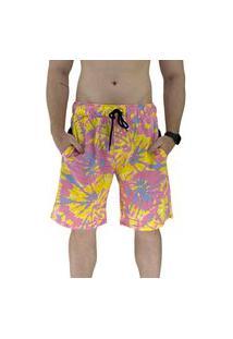 Bermuda Masculina Alto Conceito Moletom Limitado Tie Dye Amarelo E Rosa