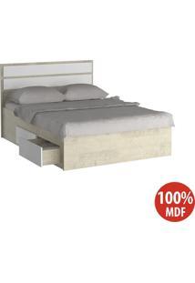 Cama Casal Com 4 Gavetas 100% Mdf 22880 Marfim Areia/Branco - Foscarini