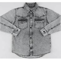 fed8a7942eba6 Camisa Jeans Infantil Com Bolsos Manga Longa Preta
