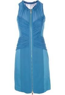 Versace Vestido Drapeado Com Recortes - Azul