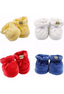 Kit Sapatinho Girelli Baby 4 Unidades Amarelo /Branco/ Vermelho / Azul Forte