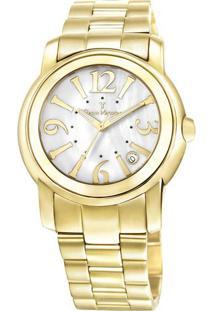 Relógio Analógico Jv01006- Dourado & Branco- Jean Vejean Vernier