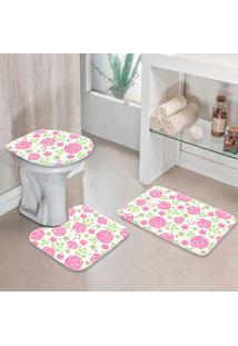 Jogo Tapetes Para Banheiro Flores Do Campo One - Único