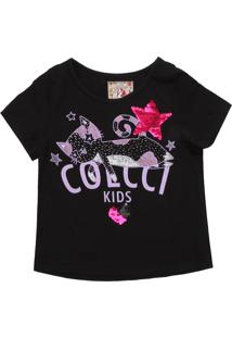 Camiseta Colcci Kids Menina Escrita Preta