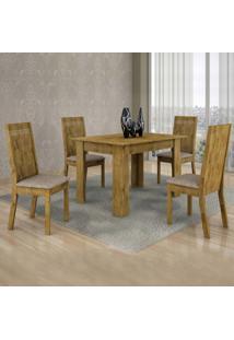 Conjunto De Mesa Com 4 Cadeiras Ouro Preto Suede Ypê E Bege