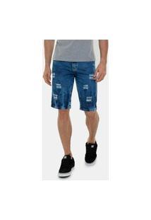 Bermuda Jeans Still Rasgada Masculino Azul Escuro