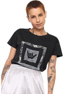 Camiseta Hang Loose Estampada Preta - Preto - Feminino - Dafiti
