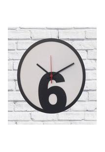 Relógio De Parede Sala Madeira Básico 6 Cor Branco 30X30X2Cm