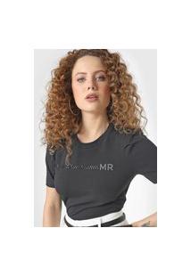 Camiseta Morena Rosa Aplicações Preta