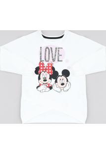 Blusão Infantil Mickey E Minnie Com Paetê Dupla Face Em Moletom Off White