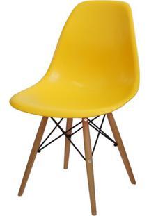 Cadeira Eames Polipropileno Amarelo Base Madeira - 14911 - Sun House