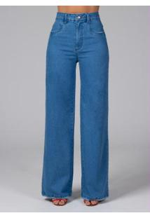 Calça Pantalona Com Bolsos Jeans Claro